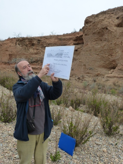 Explicación de las estructuras volcánicas preservadas en una terraza fluvial en la Rambla de Peñas Blancas