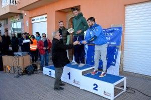 22k Cat. senior masculino. 1º Francisco,  2º Ramón Navarro y 3º Manuel Alfaro. Entrega premios Francisco Cavas - AAVVV de La Aljorra