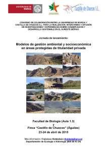 Cartel Jornada Presentación Convenio UMU-Castillo de Chuecos-23-24 Abril 2015